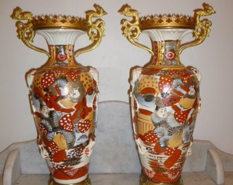 Beautiful pair of antique Satsuma Japanese porcelain polychrome vases 19th Cent