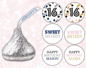 Hershey kiss stickers (108) - Sweet sixteen favors - Hershey kiss labels - Sweet 16 favors (HK011)