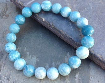Mens Bracelet / 10mm Dominican Republic Larimar bracelet / Blue Larimar jewelry / larimar jewelry