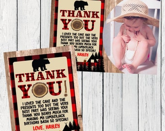 Lumberjack Bear Thank You Card Fully Personalized  ***Digital File*** (One-lumberthx))
