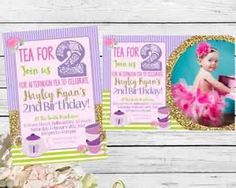 Tea Party - Tea for Two! Birthday Invitation - Or Any age ***Digital File*** (Tea-TwoGreenPic)