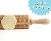 Rolling Pin engraved AZTEC square pattern! Embossing rolling pin, baking gift NEW pattern *** Wedding gift Birthday Gift***