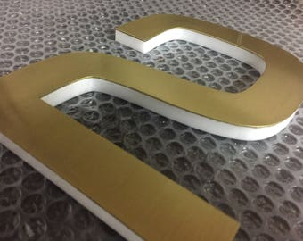 Machined Brass Custom Made Laser Cut LED House Numbers OR Letters