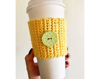 Yellow Button Coffee Cozy // Knitted Coffee Cozy // Wooden Button Cozy