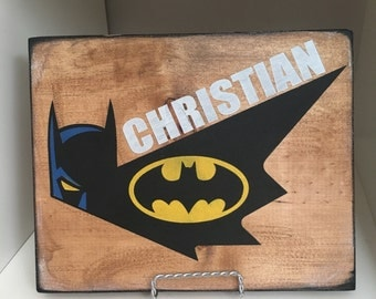 Personalized Batman sign, childrens sign, bedroom decor, handpainted, 8x10, batman wall hanging