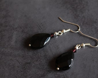 Faceted Black Agate Earrings Red Swarovski crystals Black agate drop earrings Black Agate Jewellery Simple Hook Earrings