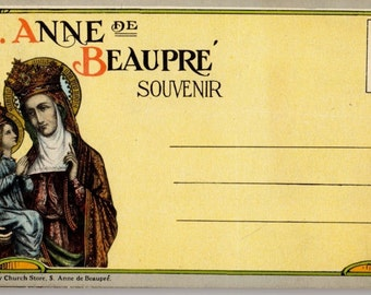 Vintage Quebec Ste Anne De Beaupre Basilica Souvenir Postcard 16 Views Booklet # 2 Unused