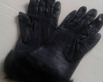Gloves, leather, fur, vintage