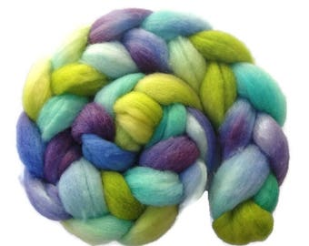 BFL wool roving, top hand painted for spinning, felting, needle felting, 4 oz