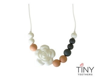 Silicone Teething Necklace | Kids Fidget Necklace | Sensory Necklace | Chew Necklace | Teething Beads | Chewlery | Grey + White + Peach