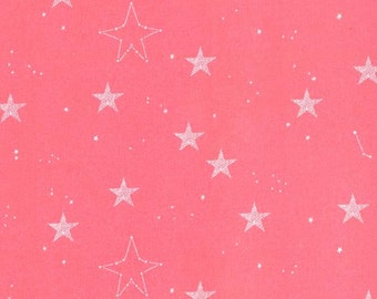 KNIT - Lucky Stars in Coral, Magic! Collection by Sarah Jane for Michael Miller Fabrics 2185