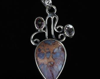 Blue Turquoise Gemstone Necklace Pendant Heart Pendant Sterling Silver Pendant
