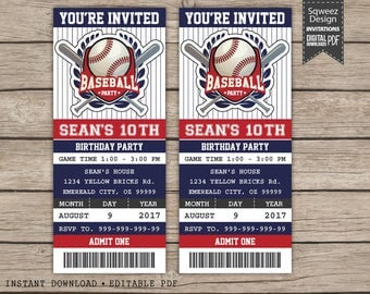 Baseball Birthday Invitation, Baseball ticket invitation Printable, Baseball Party Invitation - Instant Download Editable PDF