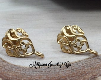 Earring Posts, DIY Earring Posts, Flower Earring Posts, Flower Earrings, Earring Components, Filigree Ear Posts, Gold Plated Sterling Silver