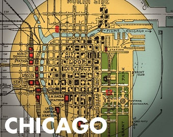 CHICAGO 1929 - city map - FREE shipping