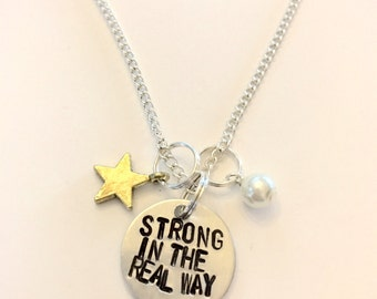 "Steven Universe Pearl Inspired Hand-Stamped Necklace - ""Strong in the Real Way"""