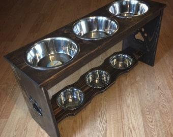 Double Decker Raised Dog Feeder - Six Bowl Two Level Elevated Dog Feeding Station