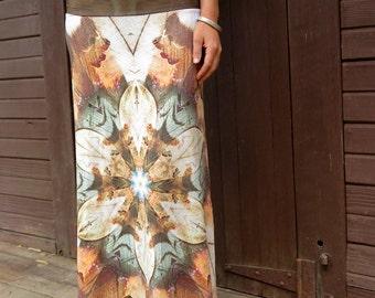 Kookaburra Dreaming long skirt, maxi skirt, dress skirt, high waist skirt, feather skirt, long flowing skirt, gypsy skirt, festival skirt,