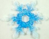 Handmade Blue, White, and Rainbow Dichroic Snowflake Artglass Suncatcher