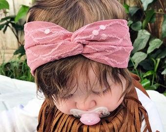 Dark Rose Lace : baby turban headband