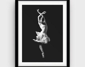 Ballet Art Ballerina Print Gray Wall Art Gift for Her Ballet Dancer Ballerina Dancer Modern Ballerina Geometric Printable Ballerina Wall Art