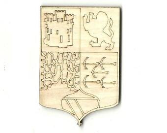 Medieval Banner - Laser Cut Out Unfinished Wood Shape Craft Supply BNR16