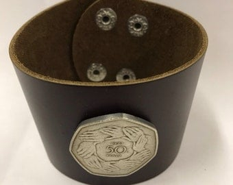 British 50 pence Leather Cuff Coin Bracelet hands