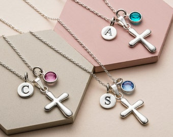 Personalised christening necklace - birthstone necklace - christening gift - holy communion gift - baptism gift - silver cross necklace