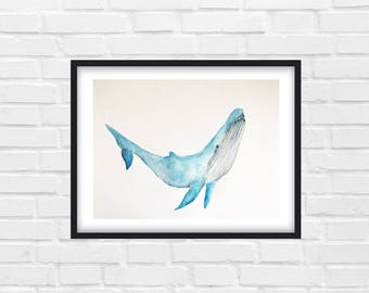 Humpback Whale, Whale Painting, Animal Art, Watercolor Painting - Original Watercolor
