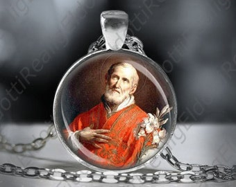 St Philip Neri Patron Saint US Special Forces Necklace Catholic Christian Medal Round 1'' Pendant - FREE SHIPPING