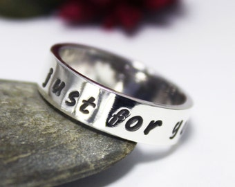Hand Stamped Personalized Band Ring , Personalized Ring, Silver Ring, Ring Just For you, Promise Rings, Name Or Words Ring For you.