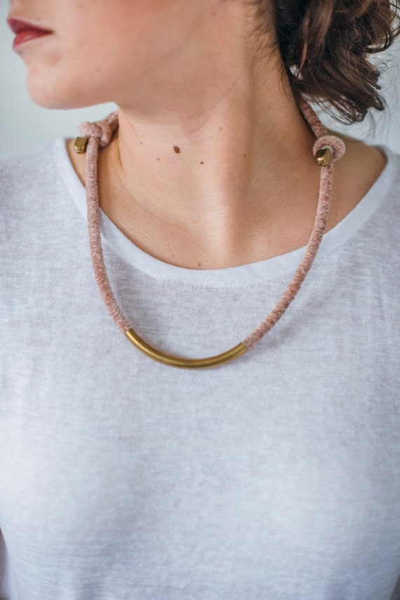 Simple Yarn + Brass Necklace - Adjustable