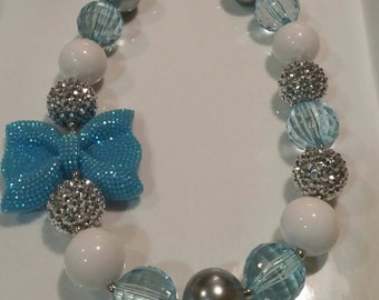 Free Shipping! Baby toddler blue silver white and turquoise bow bubblegum necklace