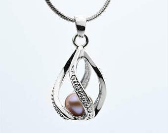 Cage Pendant Sterling Silver or White Gold Plated for 6mm to 8mm Loose Pearl Cage3 (CP44, SCP44)