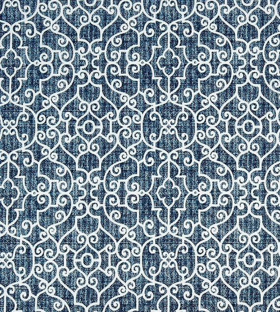 Indigo Blue Trellis Outdoor Fabric By The Yard Navy Blue Home Decor Fabric Indoor Or Outdoor Curtain Fabric Cushions Upholstery Fabric C714 From
