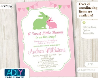 Pink Green Girl Bunny Baby Shower Invitation card, A sweet Little Girl is on her way, sage green, easter, rabbit INSTANT DOWNLOAD- oz72bPg