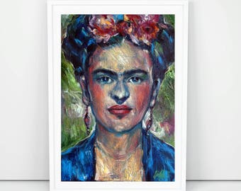 Frida Kahlo in Blue and Green ,Oil Painting, Original Artwork, Contemporary Art, Wall Decoration, Home Decoration, Original Painting