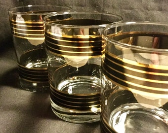 Set of 3 Mid Century Modern signed Kraftware Double Old Fashioned glasses.