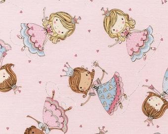 Glitter Princesses By Timeless Treasures Princess Fairies Girl Fairy tale Pink Blue Kidz-CM3689-Pink
