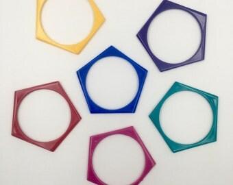 Vintage Plastic Bangle Bracelet - New Old Stock - Pentagon Bangle - Solid Bangle - Bangles