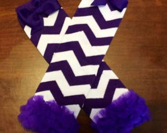 Purple Chevron LegWarmers, Purple Bow Chevron LegWarmers, Leg Warmers, Bow LegWarmers, Birthday Gift, Baby Shower Gift