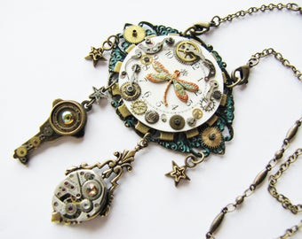 Steampunk Dragonfly & Antique Watch Dial Pendant Necklace, Steampunk Dragonfly Necklace, Pocket Watch Necklace, Watch Key Pendant PN70