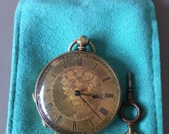Baume Geneva 1890's 18k gold pocket watch