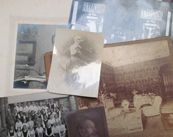 Vintage photo collection: 6 black and white photographs of mixed subjects. Collectible ephemera for craft, framing, scrapbooks OT513