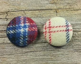 red blue plaid flannel fabric covered buttons (sz 60, 40, 32) plaid buttons, tartan buttons, red buttons, navy buttons, flannel buttons