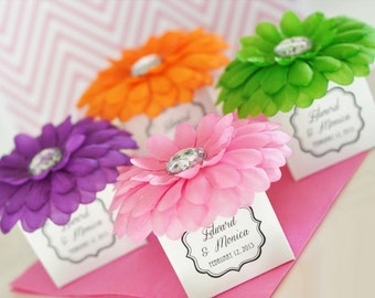 Flower Favor Boxes, with Personalized Clear Labels (set of 24)