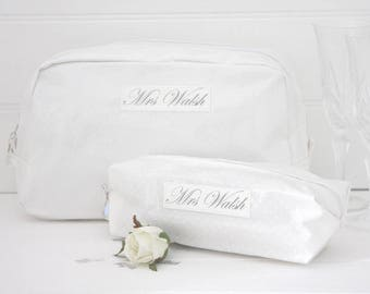 Bride Gift - Personalised Cosmetic Make Up Bag - Bridesmaid, Maid of Honour, Honeymoon Gift - Unique Gift for Bridal Party Wedding Bags