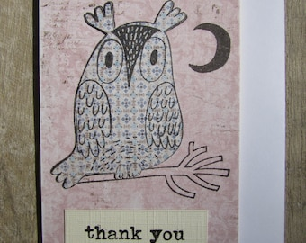 Little Thank You card - Owl on pink