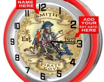 Personalized Pirates Cove Double Neon Clock