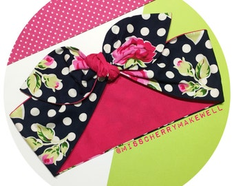 Pink Floral Navy & White Polka Dot Rockabilly 1950's Vintage Inspired Head Scarf Hair Tie Headscarf Hair Bow by Miss Cherry Makewell
